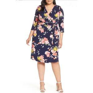 Eliza J Floral Faux Wrap Surplice Dress Navy 16W